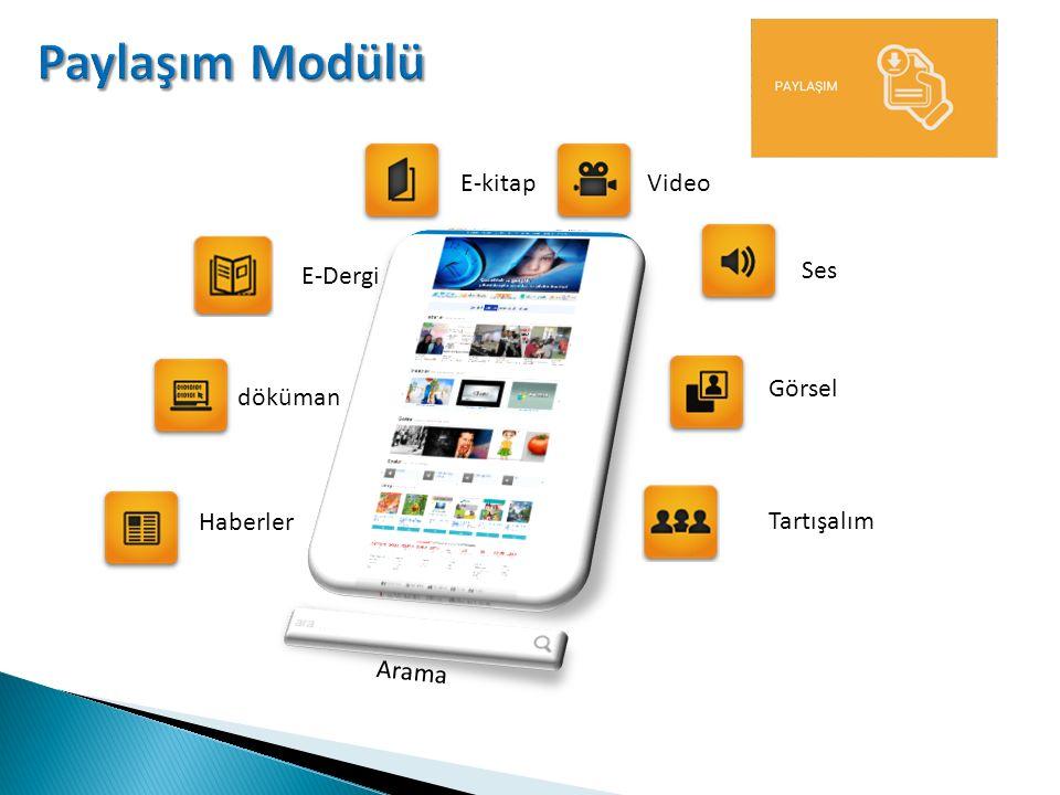 Portaller Modülü: Birbirinden bağımsız eğitim portallerini aynı adreste buluşturmak ve okul ağı içerisinde ücretsiz olarak kullanıma sunmak amacıyla tasarlanan bir modüldür