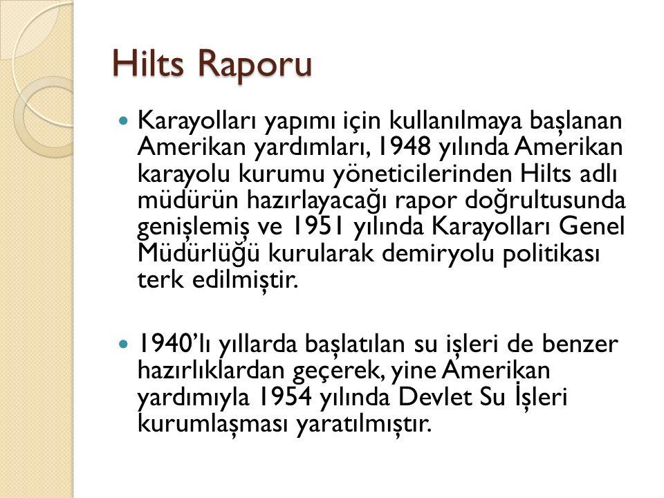 Hilts Raporu Karayolları yapımı için kullanılmaya başlanan Amerikan yardımları, 1948 yılında Amerikan karayolu kurumu yöneticilerinden Hilts adlı müdü