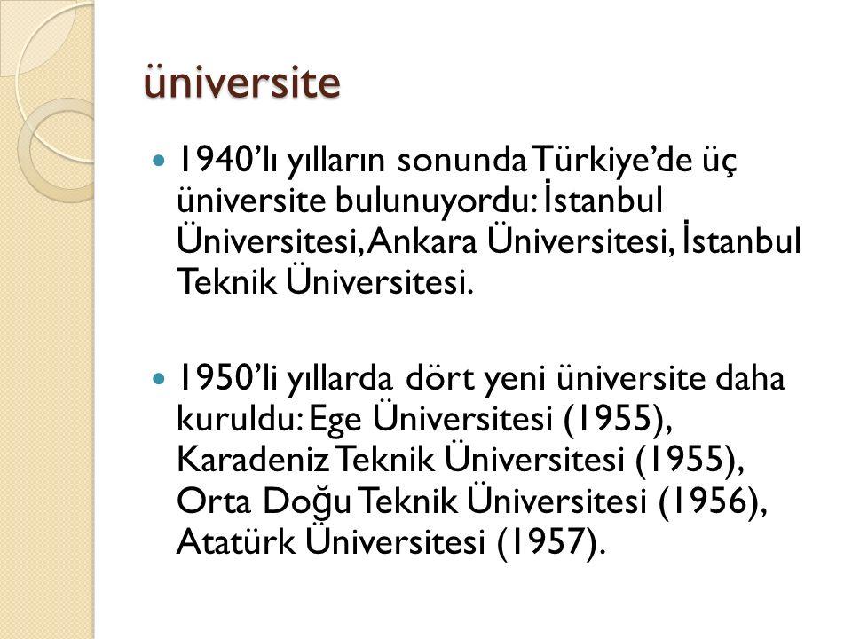 üniversite 1940'lı yılların sonunda Türkiye'de üç üniversite bulunuyordu: İ stanbul Üniversitesi, Ankara Üniversitesi, İ stanbul Teknik Üniversitesi.