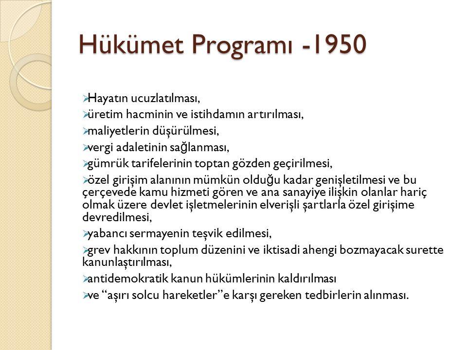 Hükümet Programı -1950  Hayatın ucuzlatılması,  üretim hacminin ve istihdamın artırılması,  maliyetlerin düşürülmesi,  vergi adaletinin sa ğ lanma