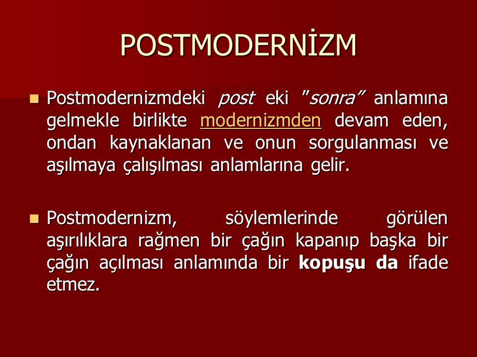 POSTMODERNİZM Postmodernizmdeki post eki sonra anlamına gelmekle birlikte modernizmden devam eden, ondan kaynaklanan ve onun sorgulanması ve aşılmaya çalışılması anlamlarına gelir.