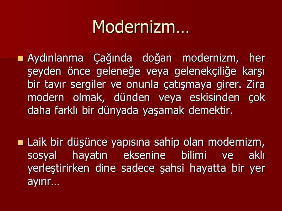 Modernizm… Aydınlanma Çağında doğan modernizm, her şeyden önce geleneğe veya gelenekçiliğe karşı bir tavır sergiler ve onunla çatışmaya girer.