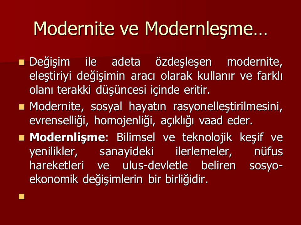 Modernite ve Modernleşme… Değişim ile adeta özdeşleşen modernite, eleştiriyi değişimin aracı olarak kullanır ve farklı olanı terakki düşüncesi içinde eritir.
