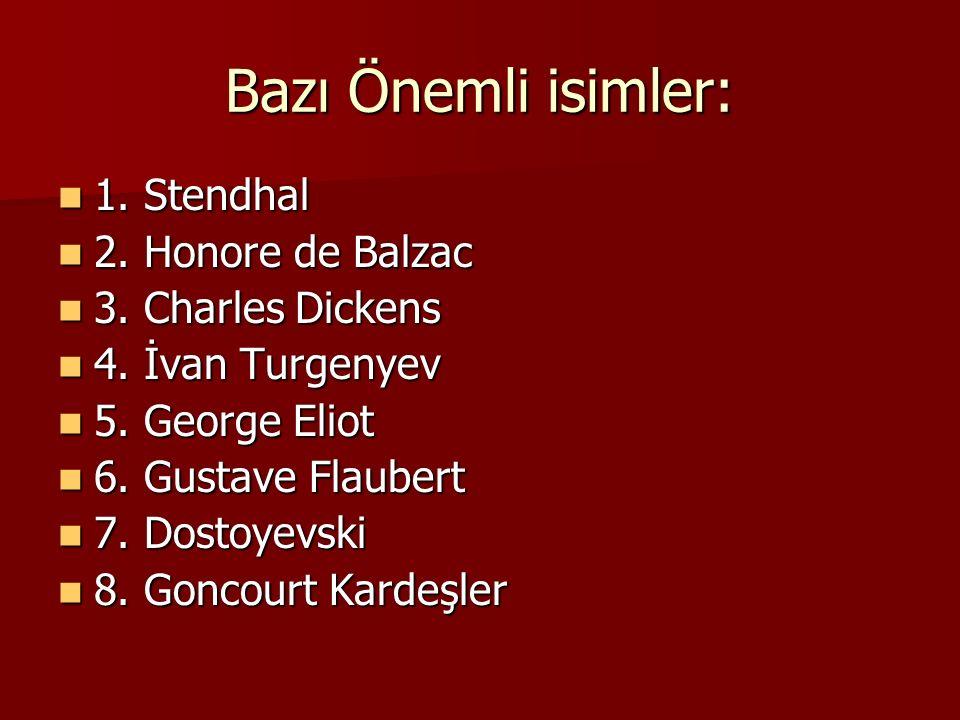Bazı Önemli isimler: 1.Stendhal 1. Stendhal 2. Honore de Balzac 2.