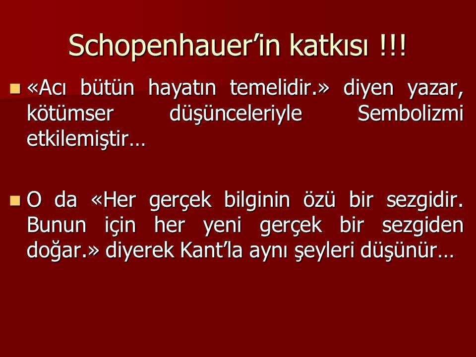 Schopenhauer'in katkısı !!.