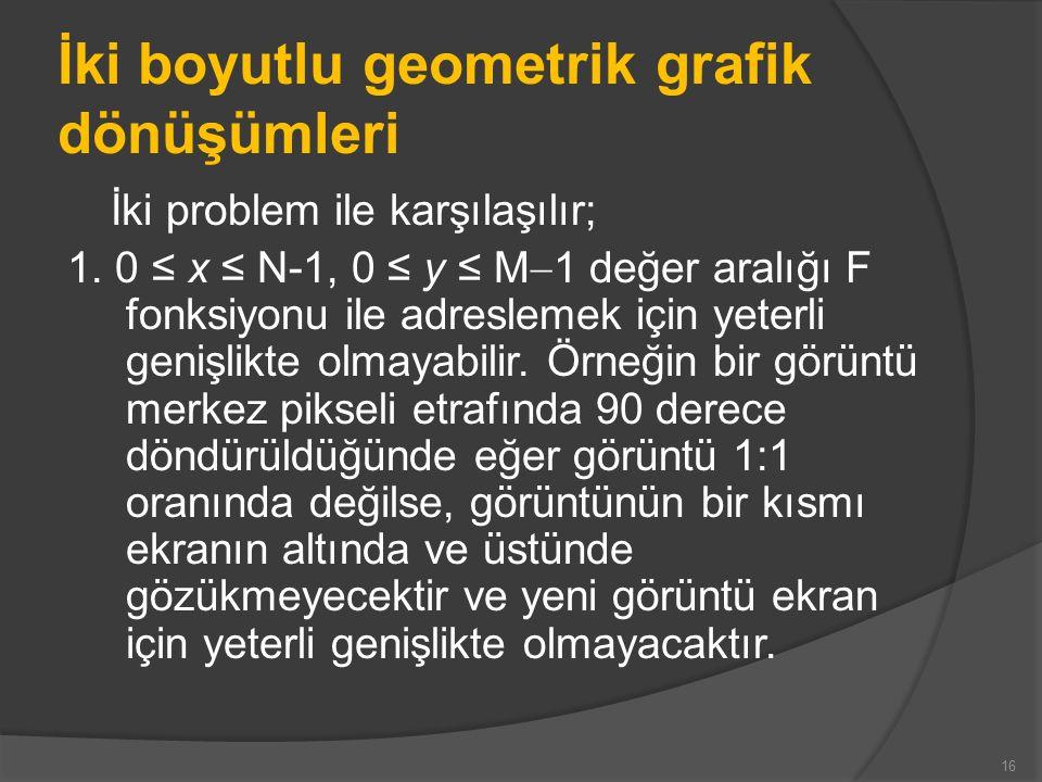 İki boyutlu geometrik grafik dönüşümleri İki problem ile karşılaşılır; 1. 0 ≤ x ≤ N-1, 0 ≤ y ≤ M  1 değer aralığı F fonksiyonu ile adreslemek için ye