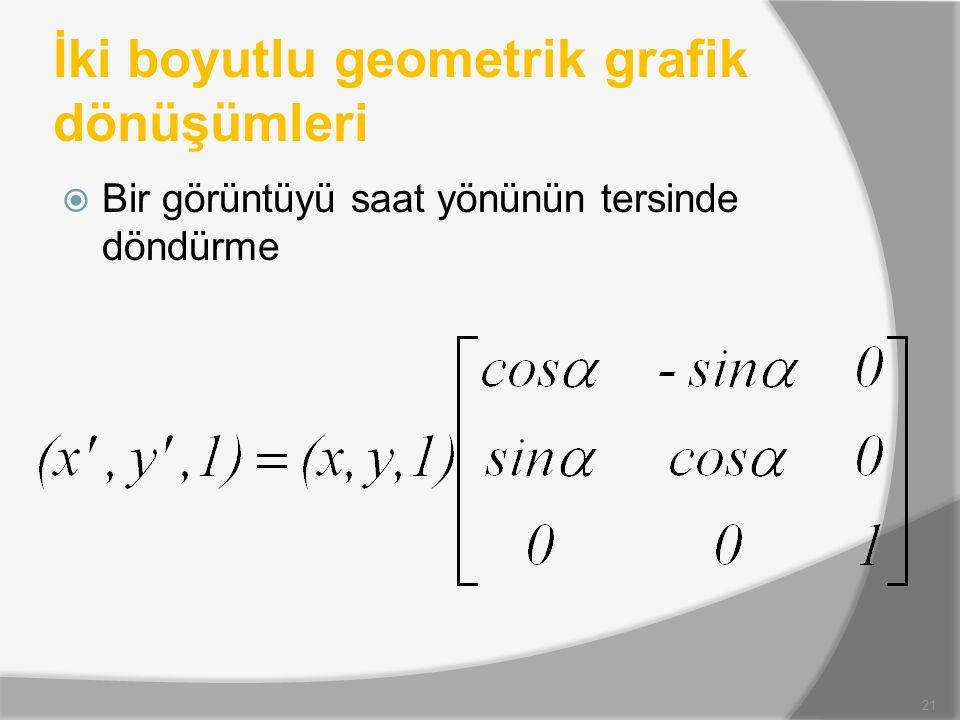 İki boyutlu geometrik grafik dönüşümleri  Bir görüntüyü saat yönünün tersinde döndürme 21