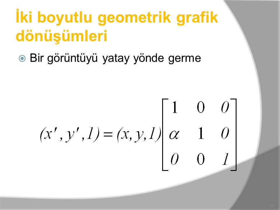 İki boyutlu geometrik grafik dönüşümleri  Bir görüntüyü yatay yönde germe 22