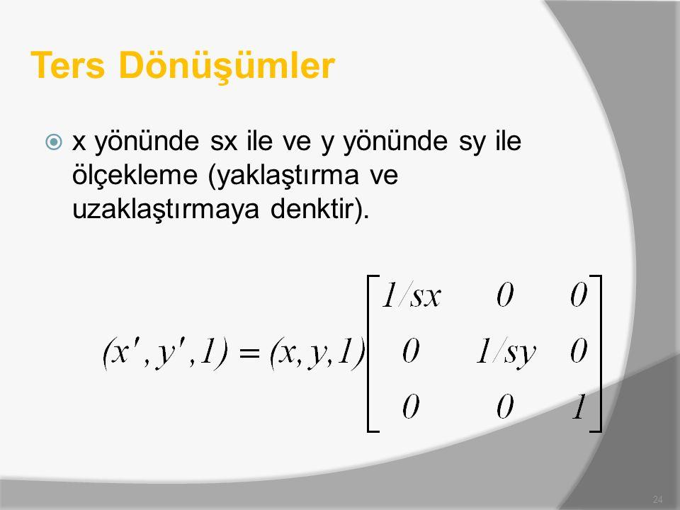 Ters Dönüşümler  x yönünde sx ile ve y yönünde sy ile ölçekleme (yaklaştırma ve uzaklaştırmaya denktir). 24