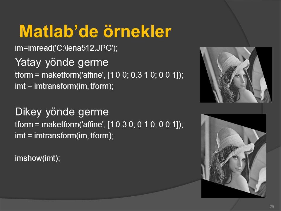 Matlab'de örnekler im=imread('C:\lena512.JPG'); Yatay yönde germe tform = maketform('affine', [1 0 0; 0.3 1 0; 0 0 1]); imt = imtransform(im, tform);