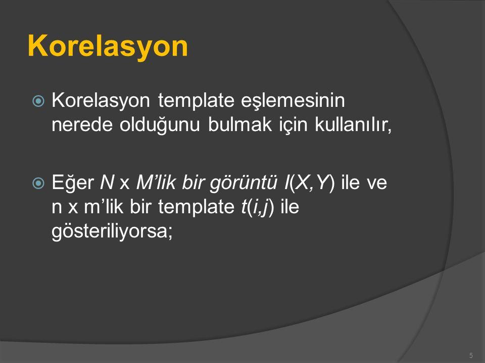 Korelasyon  Korelasyon template eşlemesinin nerede olduğunu bulmak için kullanılır,  Eğer N x M'lik bir görüntü I(X,Y) ile ve n x m'lik bir template