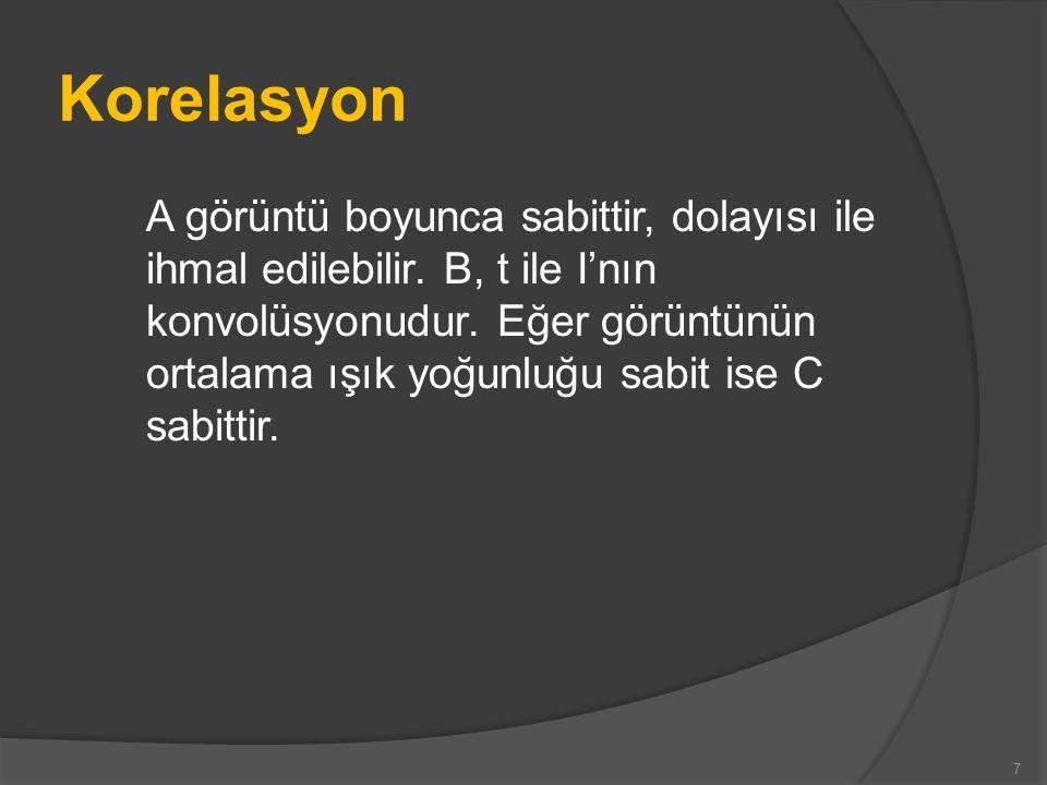 Korelasyon Bu, çarpma, kare alma ve toplama içeren korelasyonu çarpma ve toplama içeren konvolüsyon olarak azaltır.
