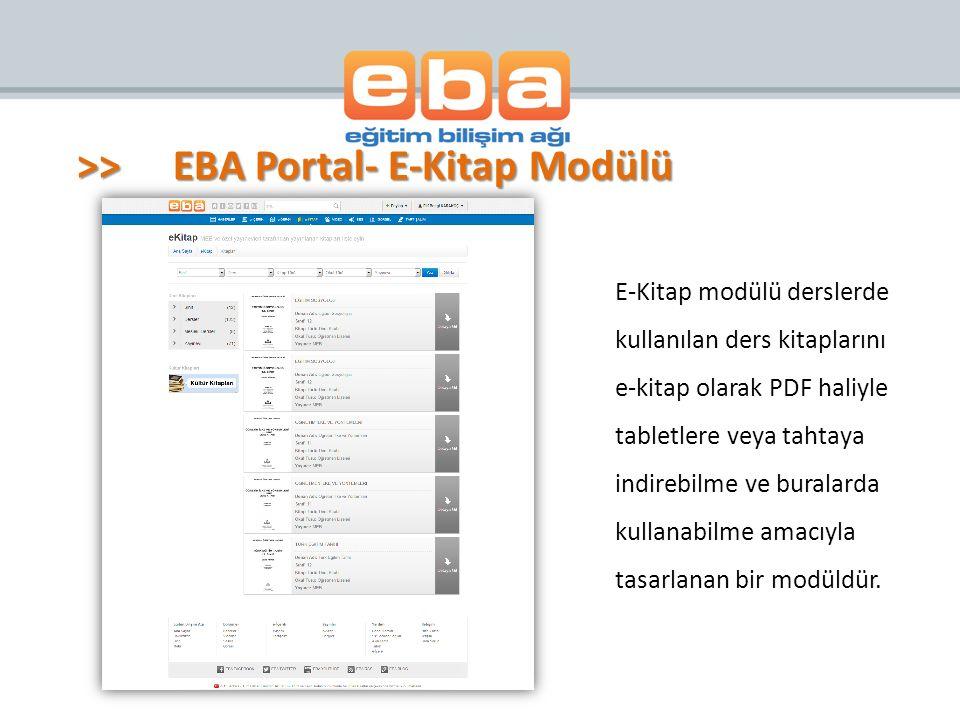 E-Kitap modülü derslerde kullanılan ders kitaplarını e-kitap olarak PDF haliyle tabletlere veya tahtaya indirebilme ve buralarda kullanabilme amacıyla tasarlanan bir modüldür.
