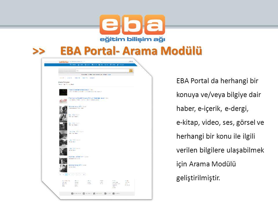 EBA Portal da herhangi bir konuya ve/veya bilgiye dair haber, e-içerik, e-dergi, e-kitap, video, ses, görsel ve herhangi bir konu ile ilgili verilen b