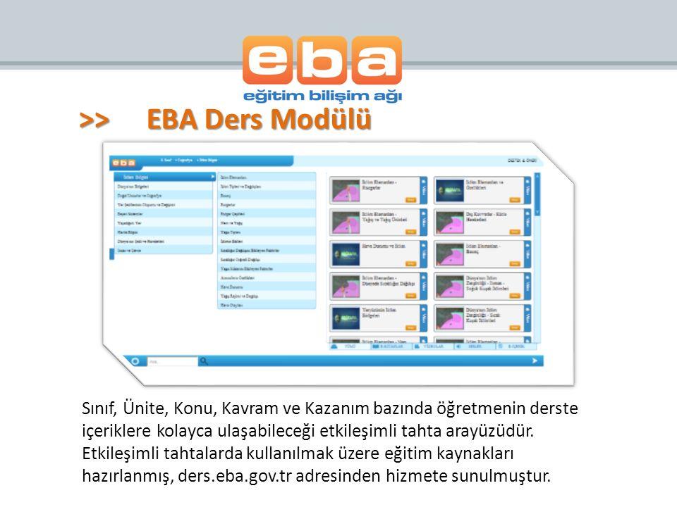 >>EBA Ders Modülü Sınıf, Ünite, Konu, Kavram ve Kazanım bazında öğretmenin derste içeriklere kolayca ulaşabileceği etkileşimli tahta arayüzüdür. Etkil