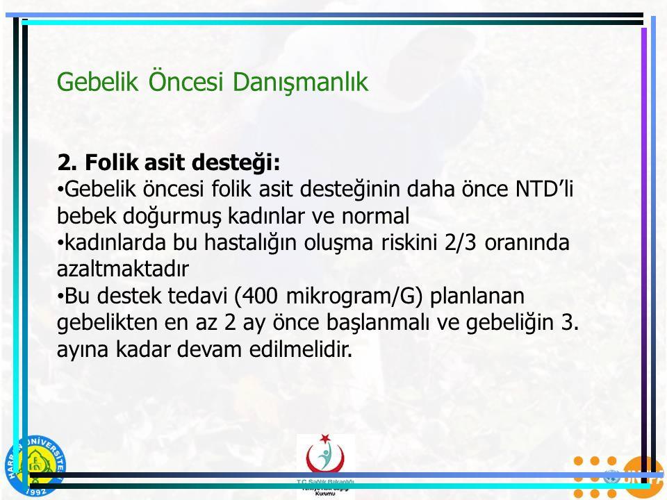 Gebelik Öncesi Danışmanlık 2. Folik asit desteği: Gebelik öncesi folik asit desteğinin daha önce NTD'li bebek doğurmuş kadınlar ve normal kadınlarda b