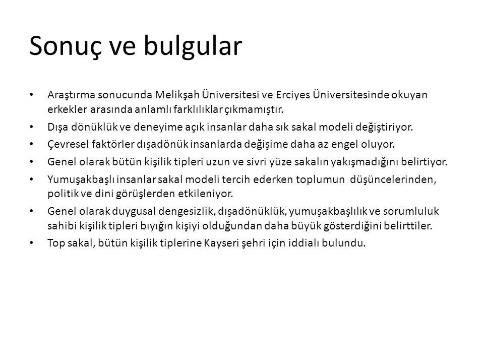 Sonuç ve bulgular Araştırma sonucunda Melikşah Üniversitesi ve Erciyes Üniversitesinde okuyan erkekler arasında anlamlı farklılıklar çıkmamıştır.