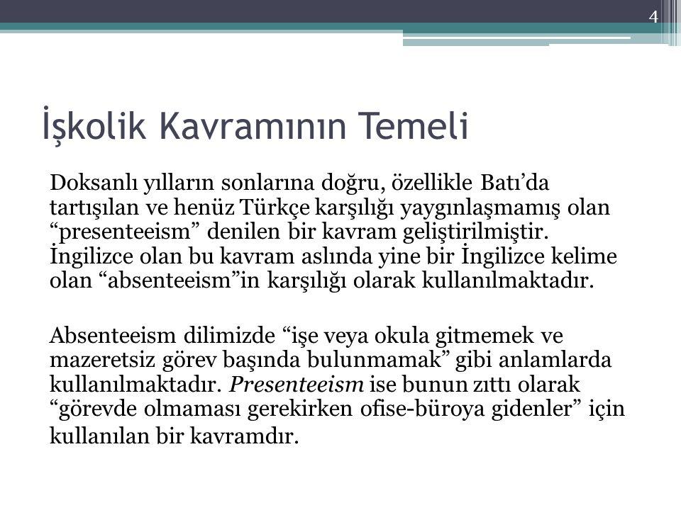 """İşkolik Kavramının Temeli Doksanlı yılların sonlarına doğru, özellikle Batı'da tartışılan ve henüz Türkçe karşılığı yaygınlaşmamış olan """"presenteeism"""""""