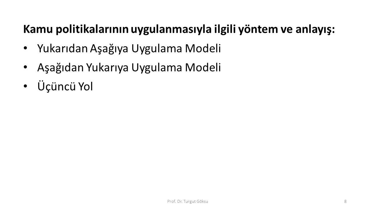 Yukarıdan Aşağıya Uygulama Modeli Özellikleri KP performansın ölçülebileceği tanımlanmış amaç ve hedeflere sahiptir.