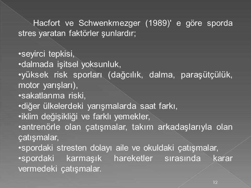 Hacfort ve Schwenkmezger (1989)' e göre sporda stres yaratan faktörler şunlardır; seyirci tepkisi, dalmada işitsel yoksunluk, yüksek risk sporları (da