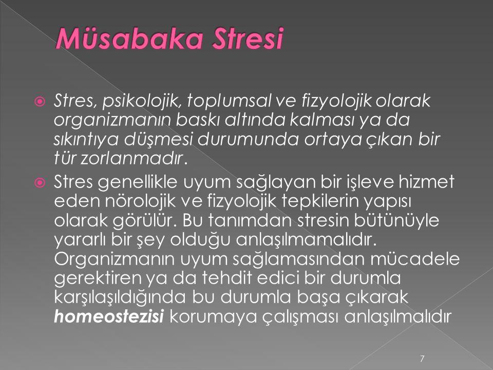  Stres, psikolojik, toplumsal ve fizyolojik olarak organizmanın baskı altında kalması ya da sıkıntıya düşmesi durumunda ortaya çıkan bir tür zorlanma