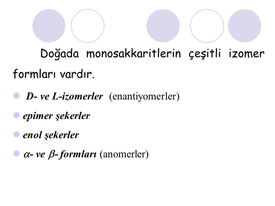 Doğada monosakkaritlerin çeşitli izomer formları vardır. D- ve L-izomerler (enantiyomerler) epimer şekerler enol şekerler  - ve  - formları (anomerl