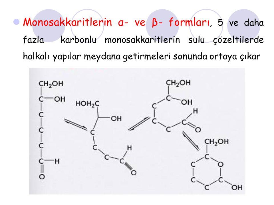 Monosakkaritlerin α- ve β- formları, 5 ve daha fazla karbonlu monosakkaritlerin sulu çözeltilerde halkalı yapılar meydana getirmeleri sonunda ortaya ç