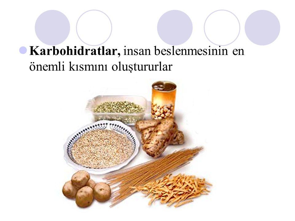 Karbohidrat metabolizması Vücudumuza günde yaklaşık 300 g karbohidrat alırız nişasta (  160 g) sakkaroz (  120 g) laktoz (  30 g) glukoz ile fruktoz (  10 g) Bitkisel besinlerle bol miktarda selüloz, nişasta ve sakkaroz alınır; hayvansal besinlerle ise glikojen ve laktoz alınır