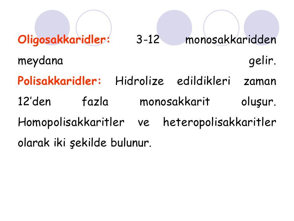 Oligosakkaridler: 3-12 monosakkaridden meydana gelir. Polisakkaridler: Hidrolize edildikleri zaman 12'den fazla monosakkarit oluşur. Homopolisakkaritl