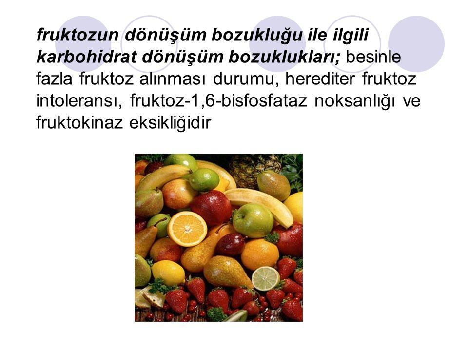 fruktozun dönüşüm bozukluğu ile ilgili karbohidrat dönüşüm bozuklukları; besinle fazla fruktoz alınması durumu, herediter fruktoz intoleransı, fruktoz