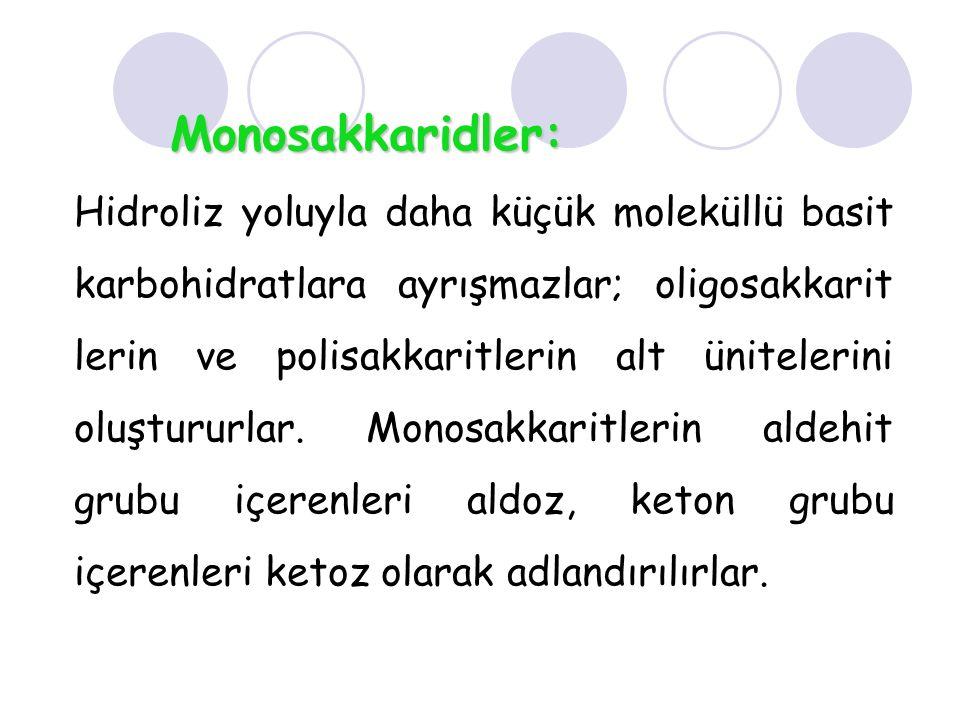 Monosakkaridler: Hidroliz yoluyla daha küçük moleküllü basit karbohidratlara ayrışmazlar; oligosakkarit lerin ve polisakkaritlerin alt ünitelerini olu