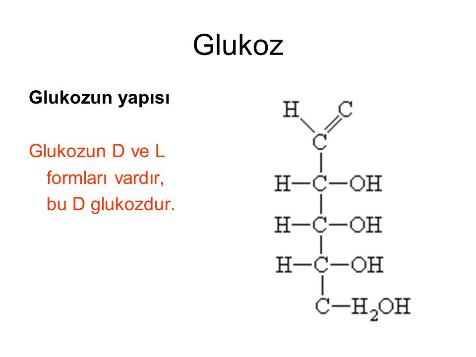 Glukoz Glukozun yapısı Glukozun D ve L formları vardır, bu D glukozdur.