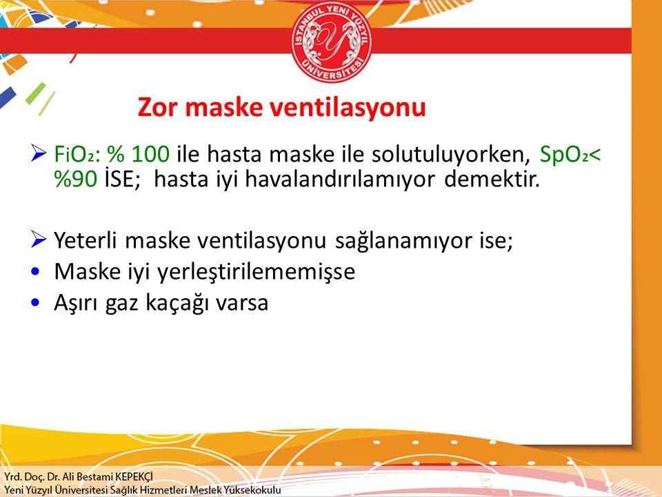 Zor maske ventilasyonu  F i O 2 : % 100 ile hasta maske ile solutuluyorken, SpO 2 < %90 İSE; hasta iyi havalandırılamıyor demektir.  Yeterli maske v