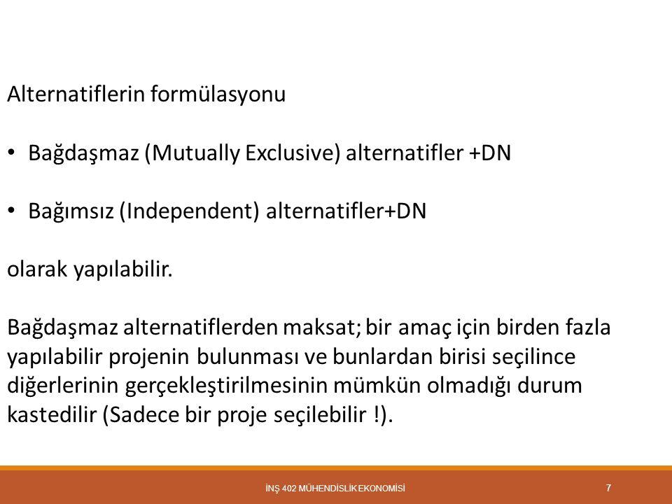 İNŞ 402 MÜHENDİSLİK EKONOMİSİ 7 Alternatiflerin formülasyonu Bağdaşmaz (Mutually Exclusive) alternatifler +DN Bağımsız (Independent) alternatifler+DN