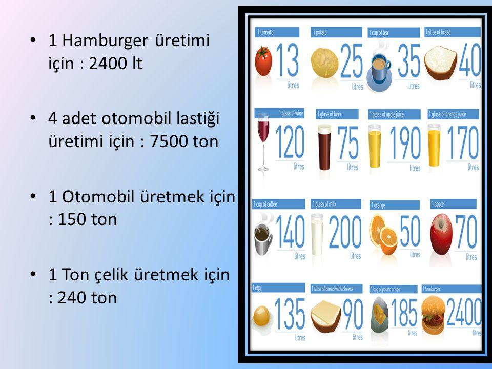 1 Hamburger üretimi için : 2400 lt 4 adet otomobil lastiği üretimi için : 7500 ton 1 Otomobil üretmek için : 150 ton 1 Ton çelik üretmek için : 240 to