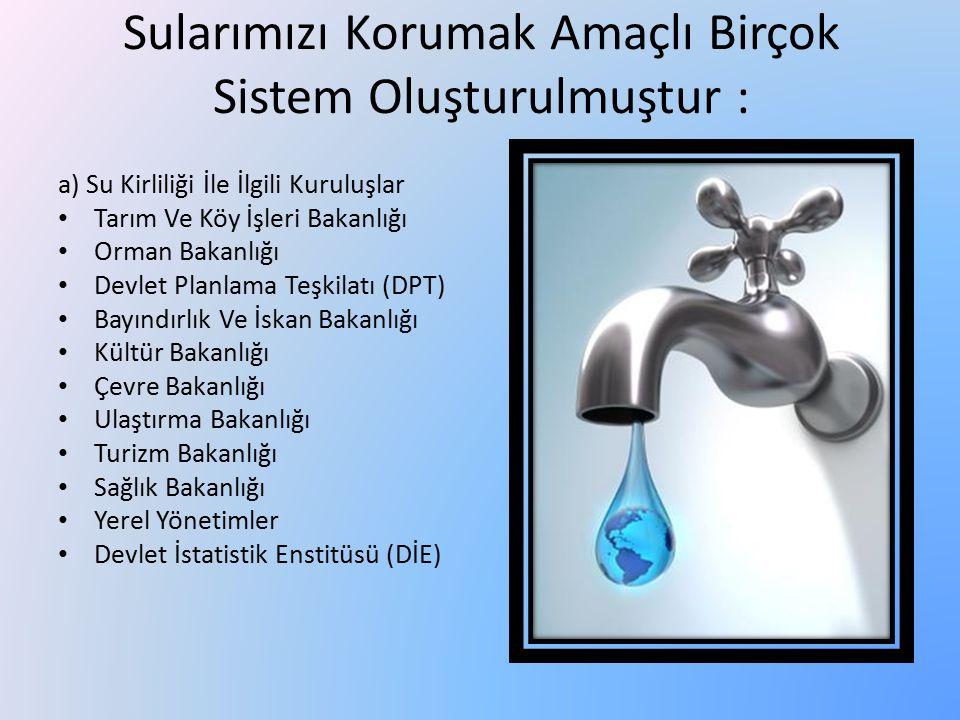 Sularımızı Korumak Amaçlı Birçok Sistem Oluşturulmuştur : a) Su Kirliliği İle İlgili Kuruluşlar Tarım Ve Köy İşleri Bakanlığı Orman Bakanlığı Devlet P