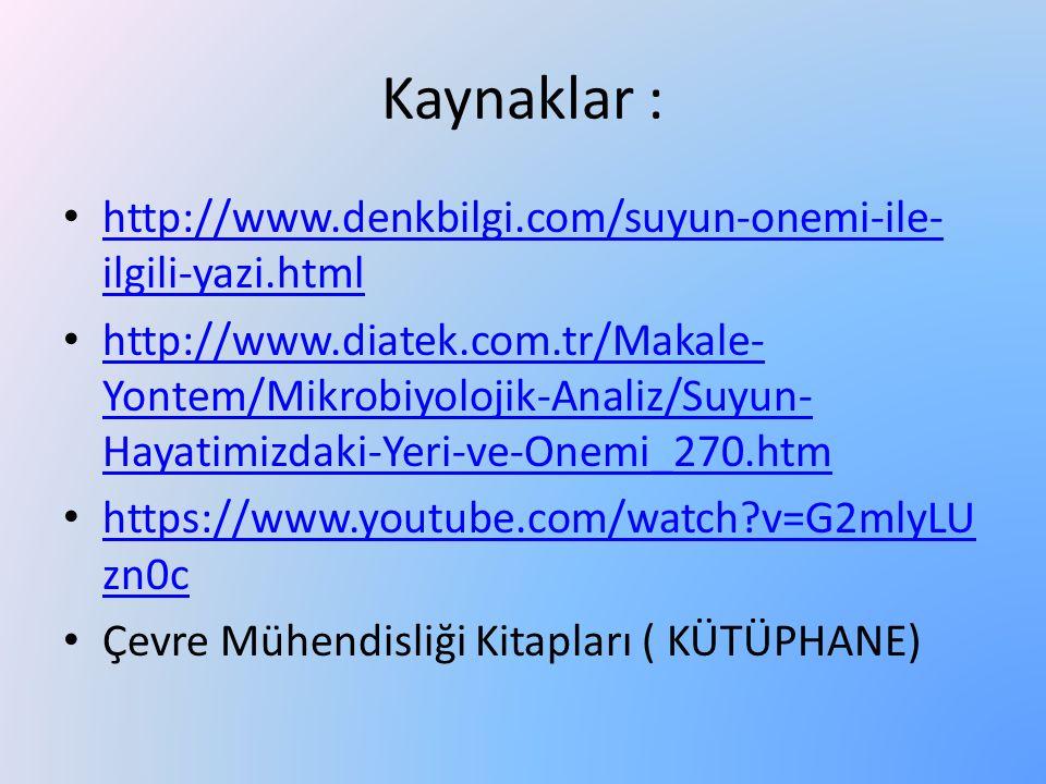 Kaynaklar : http://www.denkbilgi.com/suyun-onemi-ile- ilgili-yazi.html http://www.denkbilgi.com/suyun-onemi-ile- ilgili-yazi.html http://www.diatek.co