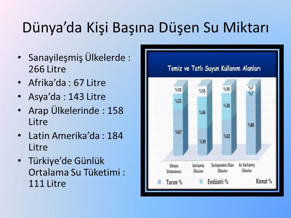 Dünya'da Kişi Başına Düşen Su Miktarı Sanayileşmiş Ülkelerde : 266 Litre Afrika'da : 67 Litre Asya'da : 143 Litre Arap Ülkelerinde : 158 Litre Latin A