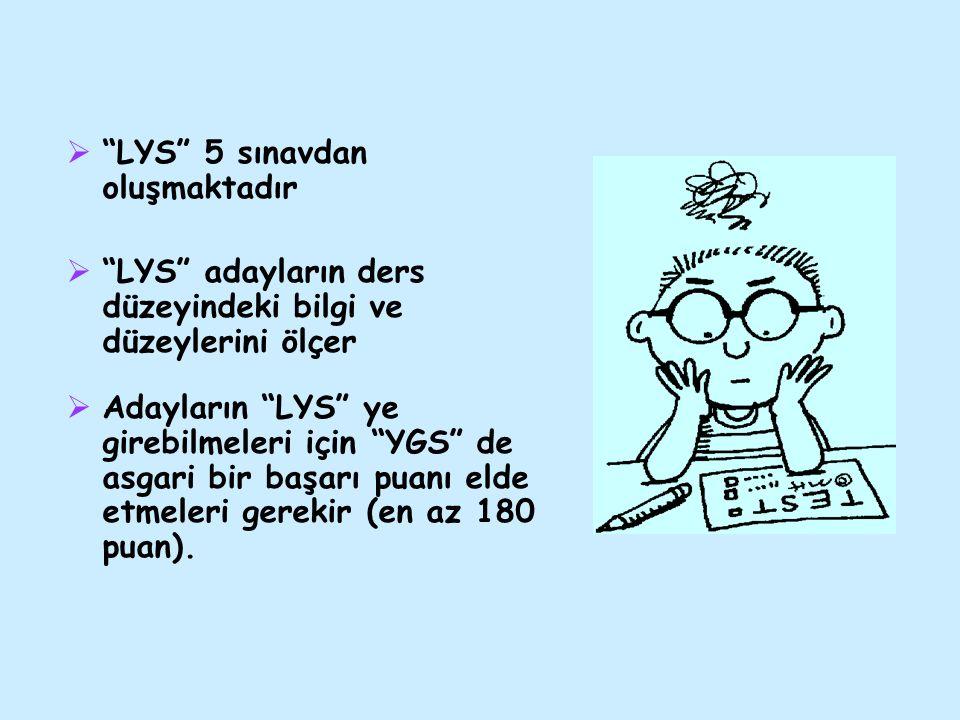 """ """"LYS"""" 5 sınavdan oluşmaktadır  """"LYS"""" adayların ders düzeyindeki bilgi ve düzeylerini ölçer  Adayların """"LYS"""" ye girebilmeleri için """"YGS"""" de asgari"""