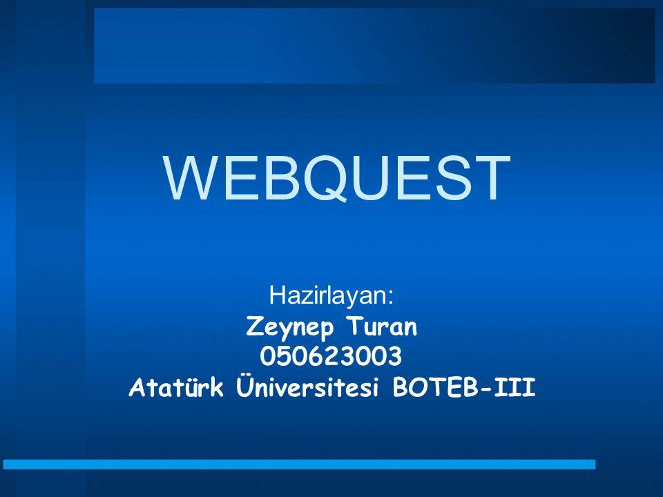 WEBQUEST Hazirlayan: Zeynep Turan 050623003 Atatürk Üniversitesi BOTEB-III