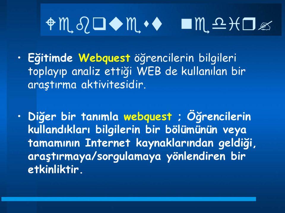 Webquest nedir? Eğitimde Webquest öğrencilerin bilgileri toplayıp analiz ettiği WEB de kullanılan bir araştırma aktivitesidir. Diğer bir tanımla webqu