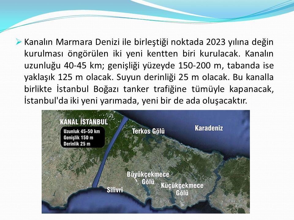  453 milyon metrekareye kurulması planlanan Yeni Şehir in 30 milyon metrekaresini Kanal İstanbul oluşturmaktadır.