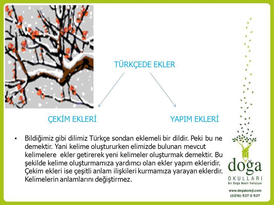 TÜRKÇEDE EKLER ÇEKİM EKLERİ YAPIM EKLERİ Bildiğimiz gibi dilimiz Türkçe sondan eklemeli bir dildir.