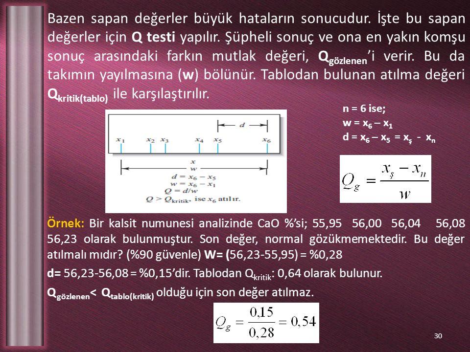 Bazen sapan değerler büyük hataların sonucudur. İşte bu sapan değerler için Q testi yapılır. Şüpheli sonuç ve ona en yakın komşu sonuç arasındaki fark