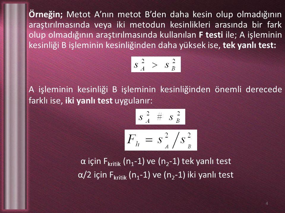 A işleminin kesinliği B işleminin kesinliğinden önemli derecede farklı ise, iki yanlı test uygulanır: Örneğin; Metot A'nın metot B'den daha kesin olup olmadığının araştırılmasında veya iki metodun kesinlikleri arasında bir fark olup olmadığının araştırılmasında kullanılan F testi ile; A işleminin kesinliği B işleminin kesinliğinden daha yüksek ise, tek yanlı test: 4 α için F kritik (n 1 -1) ve (n 2 -1) tek yanlı test α/2 için F kritik (n 1 -1) ve (n 2 -1) iki yanlı test