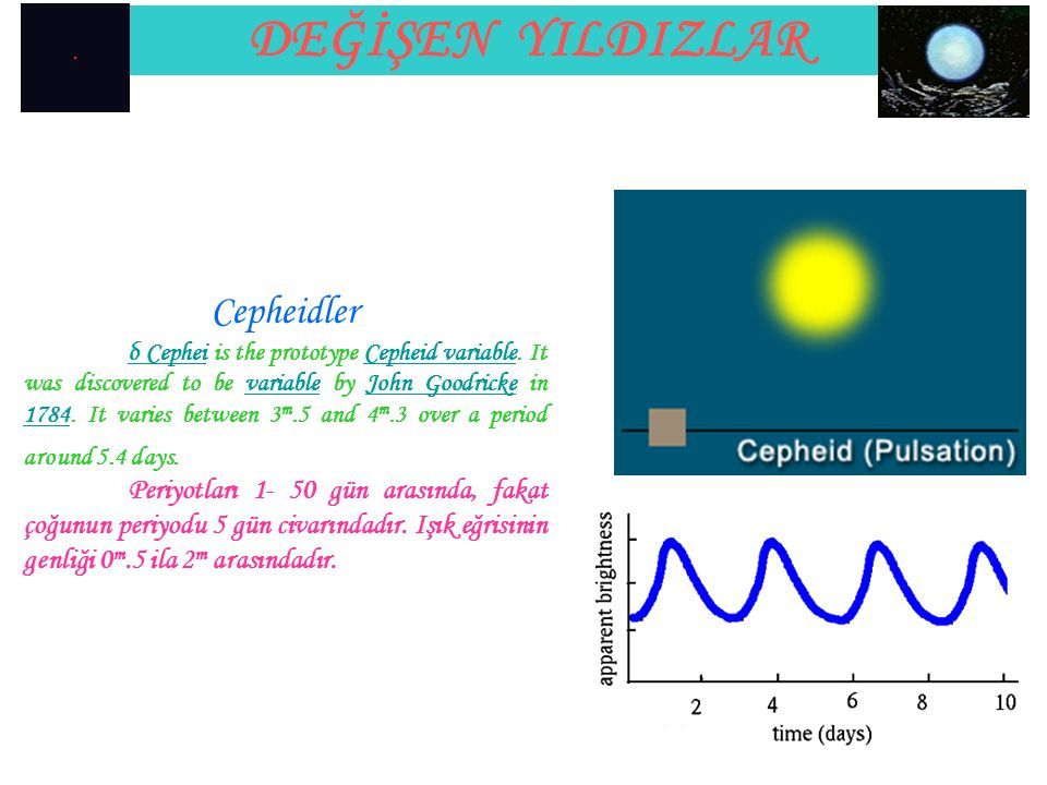 DEĞİŞEN YILDIZLAR Cepheidler δ Cepheiδ Cephei is the prototype Cepheid variable. It was discovered to be variable by John Goodricke in 1784. It varies