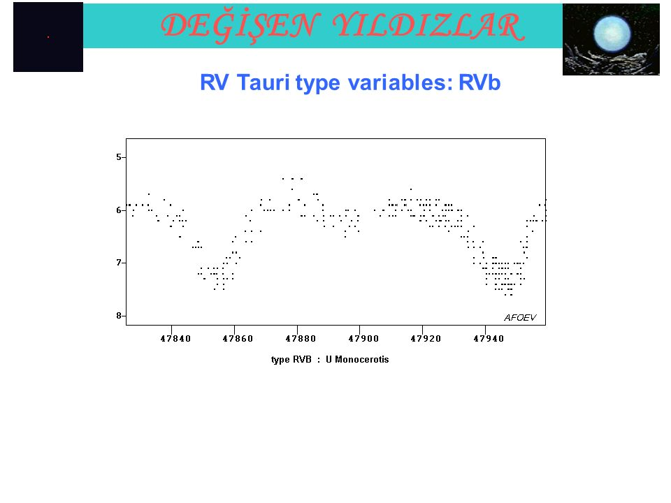 DEĞİŞEN YILDIZLAR RV Tauri type variables: RVb