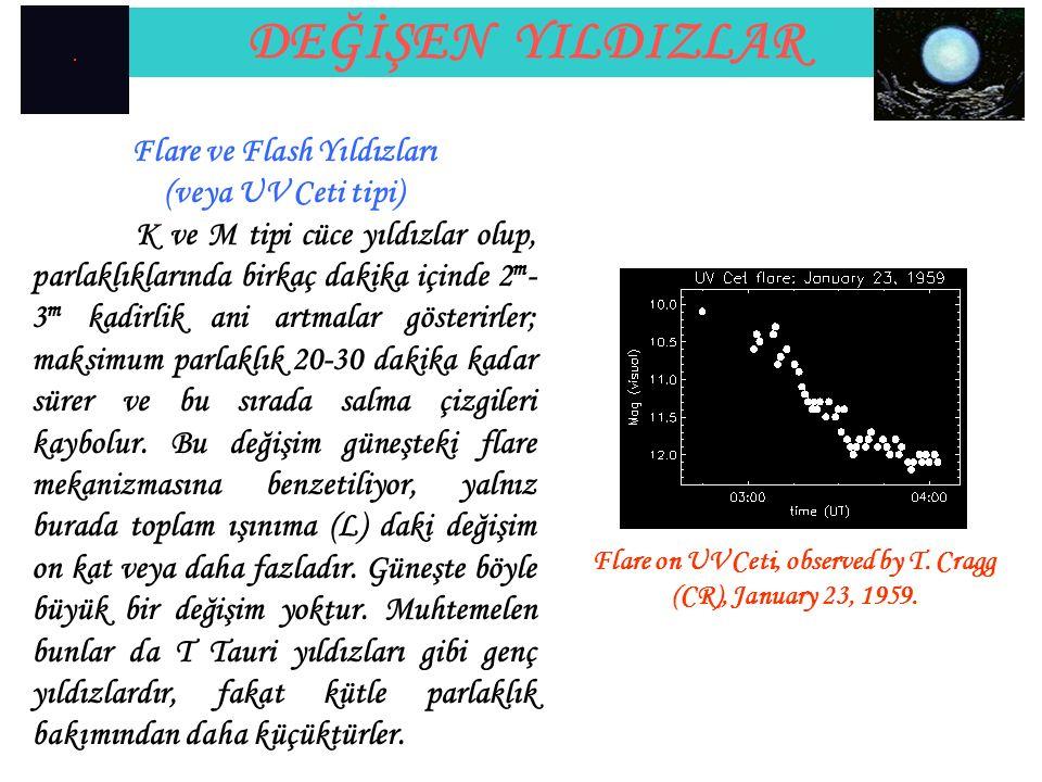 DEĞİŞEN YILDIZLAR Flare ve Flash Yıldızları (veya UV Ceti tipi) K ve M tipi cüce yıldızlar olup, parlaklıklarında birkaç dakika içinde 2 m - 3 m kadir