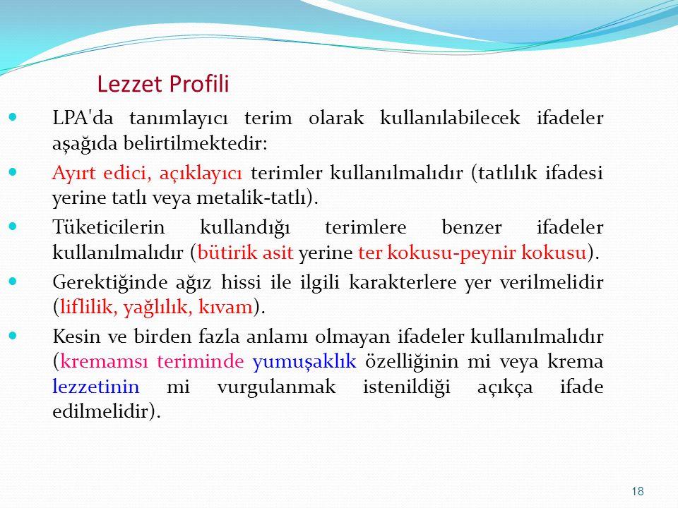 18 Lezzet Profili LPA'da tanımlayıcı terim olarak kullanılabilecek ifadeler aşağıda belirtilmektedir: Ayırt edici, açıklayıcı terimler kullanılmalıdır