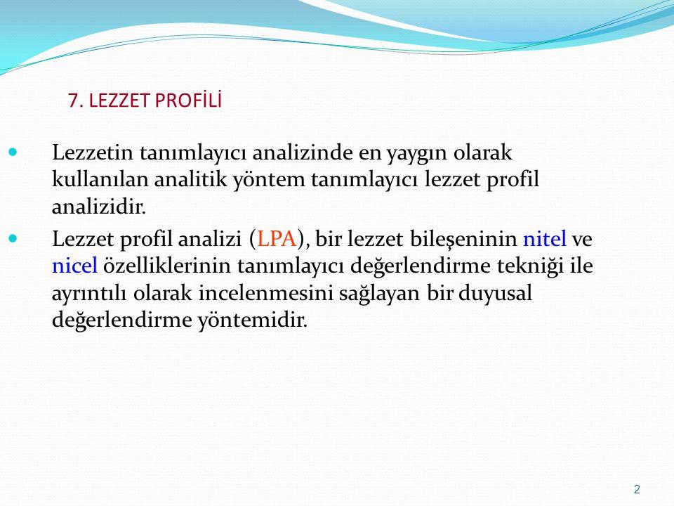 2 Lezzetin tanımlayıcı analizinde en yaygın olarak kullanılan analitik yöntem tanımlayıcı lezzet profil analizidir. Lezzet profil analizi (LPA), bir l